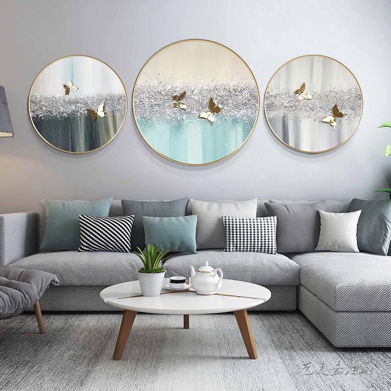 銀粉工藝純手繪簡約現代輕奢北歐客餐廳裝飾掛壁圓形實物蝴蝶油畫