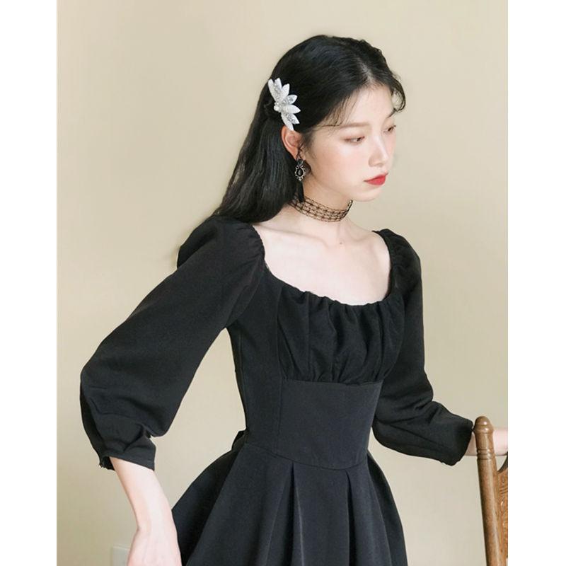 2020春夏新复古法式少女显瘦连衣裙黑色赫本风小黑裙桔梗裙中长款
