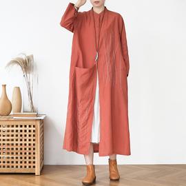 春秋季新款原创设计宽松大码刺绣棉麻文艺复古中长款亚麻立领外套