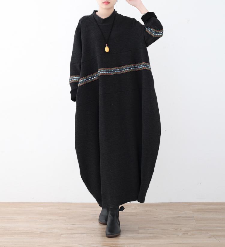 2021秋季女装新款复古宽松高领大码绣花连衣裙拼接A字打底裙袍子