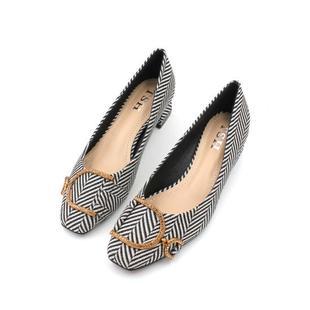 5CM小高跟温柔仙女鞋2019新款女鞋春款歐洲站方頭粗跟中跟單鞋女