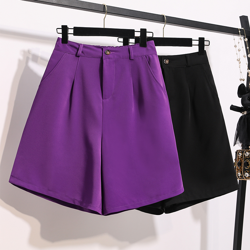 大码女装2020夏新款胖mm高腰显瘦五分西装裤紫色百搭休闲直筒短裤