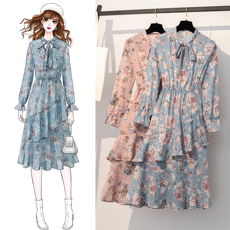 大码女装显瘦荷叶摆长袖2019连衣裙