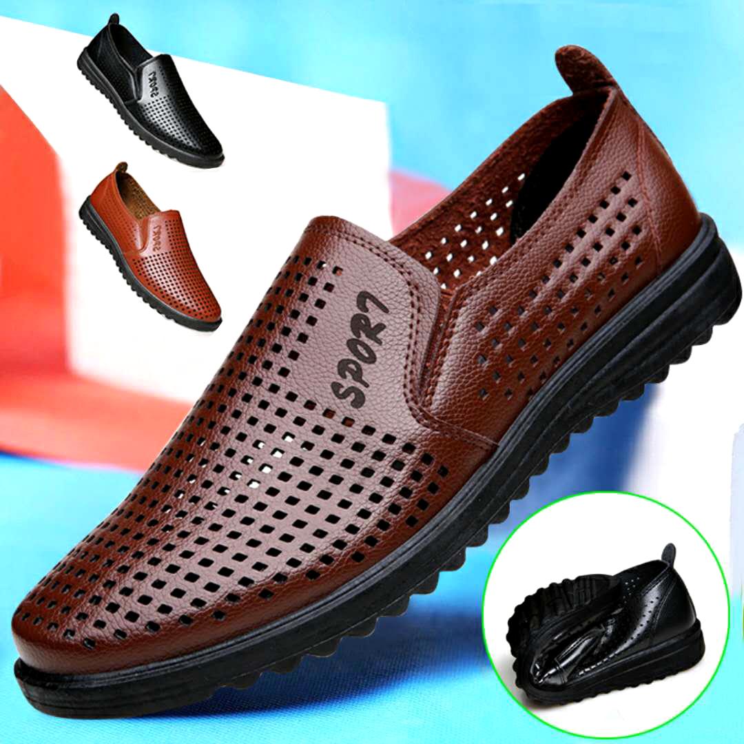 夏季男士凉鞋镂空皮鞋男鞋软皮休闲凉皮鞋透气爸爸洞洞鞋厨师鞋