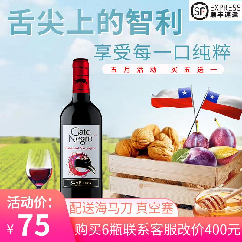 智利原瓶进口Gatonegro 黑猫红酒赤霞珠干红葡萄酒猫酒单支装包邮