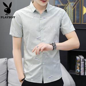 花花公子夏季男士薄款印花短袖衬衫男青少年韩版修身潮流休闲衬衣