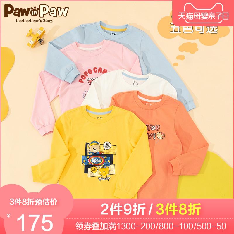 PawinPaw卡通小熊童装2021年春款新款男女童长袖打底衫字母可爱