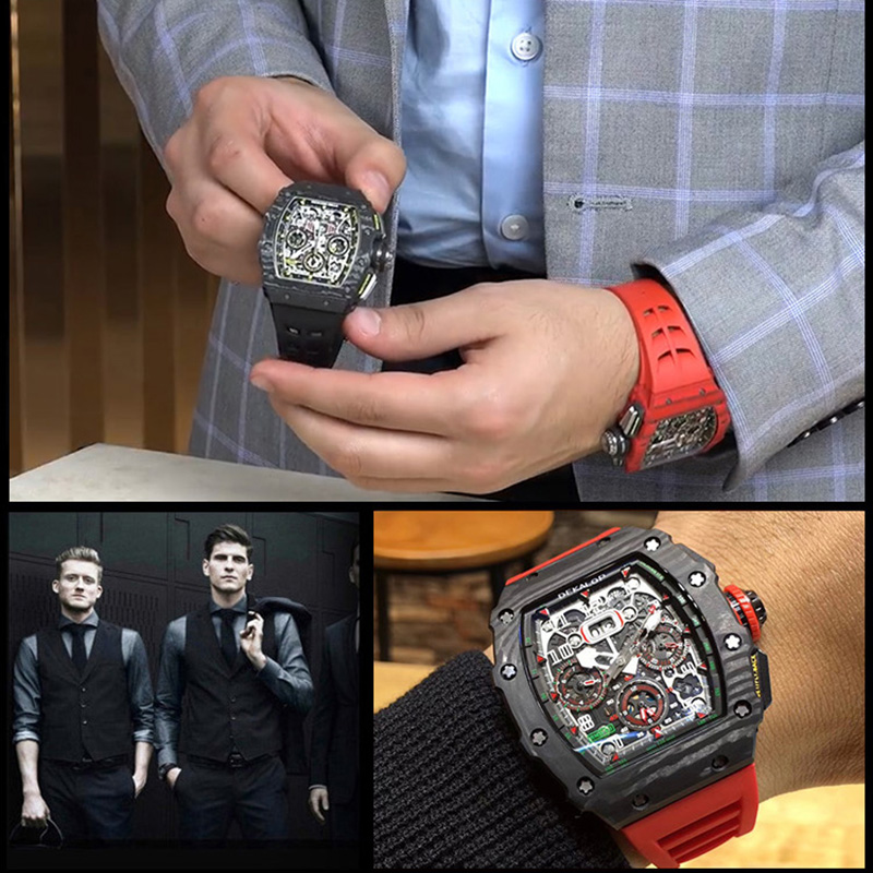 スイスrmリチャード炭素繊維ミラー機械表男性腕時計の個性的なおしゃれな男性の透かし彫りの酒樽の形