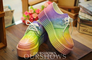 Limited Japanese Harajuku zipper spank cream psychedelic color gradient with platform shoes