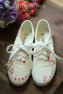 Cheap Japanese Harajuku zipper soft sister Sen female floral fresh cherry necessary shoes painted canvas shoes lace shoes