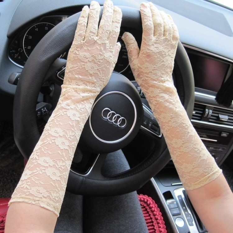 Medium length Lace Gloves womens sunscreen thin sexy mesh breathable Wedding Bridal etiquette black and white gloves
