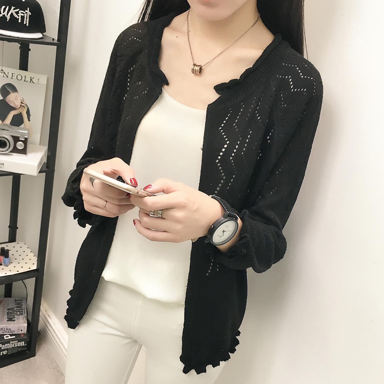 开衫披肩外套镂空韩版短款春装针织女装毛衣上