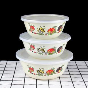 带盖卡通搪瓷碗搪瓷储藏碗保鲜碗带盖搅拌碗沙拉碗价格