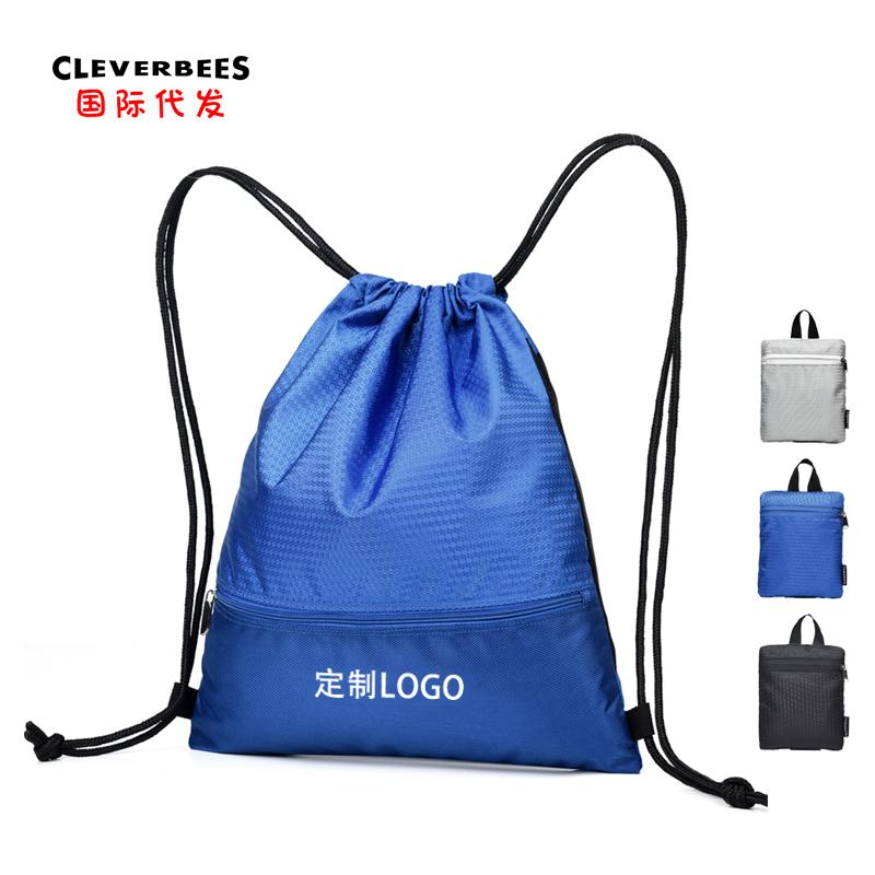 厂家定制户外运动双肩包篮球足球鞋旅行背包轻便折叠双抽绳束口袋