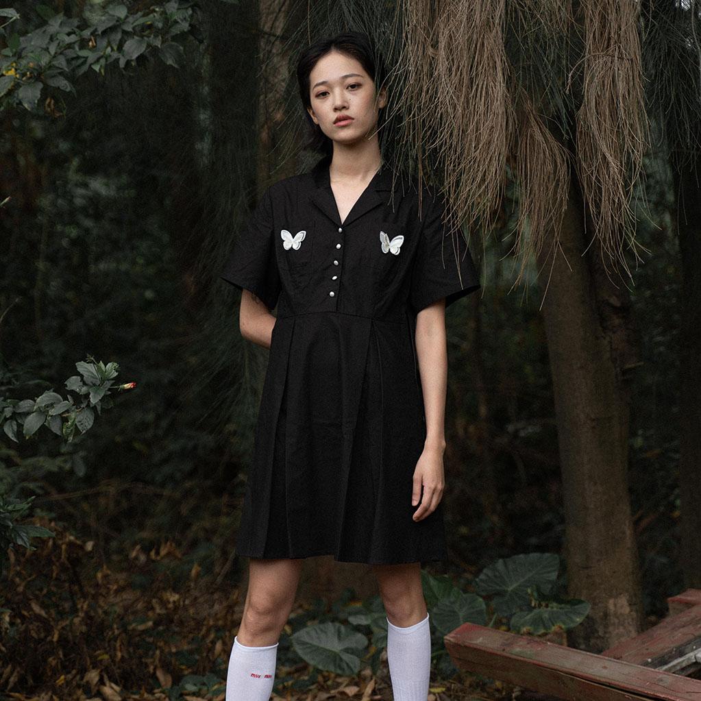 迷路森林原创 Lost Forest《少女祈祷》黑色复古法式连衣裙
