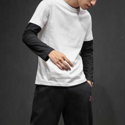 2018春装新款日系潮男长袖T恤宽松打底?#26469;?#30721;假两件T恤男T126/P30