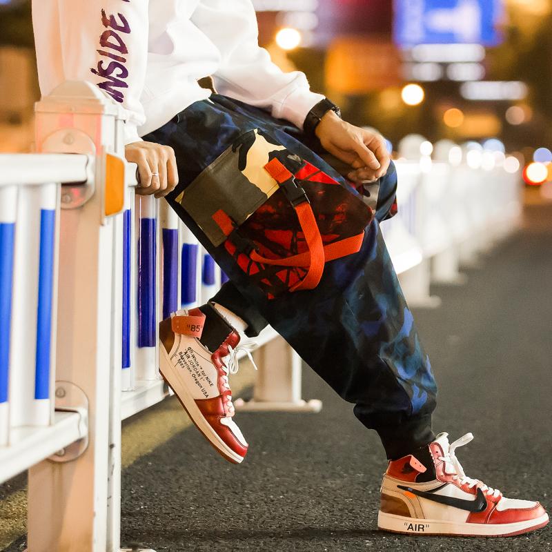 秋装夜景宽松迷彩工装休闲九分裤嘻哈滑板束脚哈伦裤潮男K272/P65