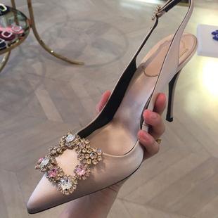 2020春秋高跟鞋彩水鑽尖頭細跟女鞋綢緞紅色婚鞋淺口方扣後綁帶鞋