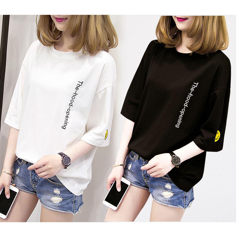 Black and white large size top middle sleeve womens Spring Dress Embroidery new short sleeve womens T-shirt loose Korean half sleeve summer dress