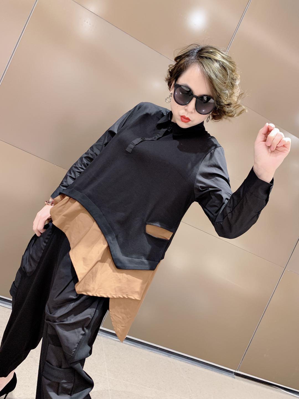 欧洲站2021春季新款时尚宽松韩版假两件衬衫女上衣遮肉加大打底衫
