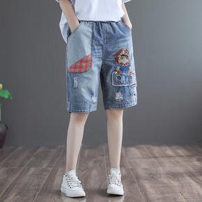 代勒原创复古刺绣破洞牛仔裤女士夏季新款松紧腰宽松大码五分裤子