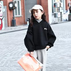 冬装女童加绒卫衣2020新款韩版中大童洋气假两件高领加厚套头上衣