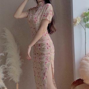 复古优雅温柔刺绣改良版中国风年轻款少女短袖旗袍连衣裙