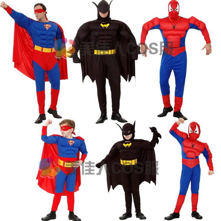 万圣节派对服装cos表演服装环保亲子超人衣服紧身超人服装超人装