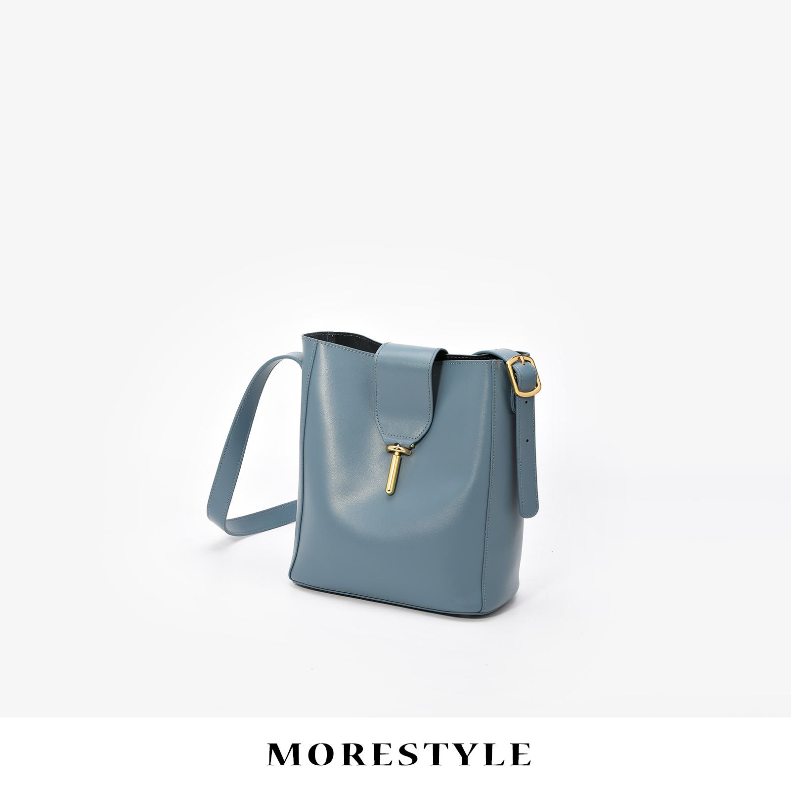 西木汀真皮包包女2018新款大容量水桶大包单肩百搭斜挎韩版购物袋