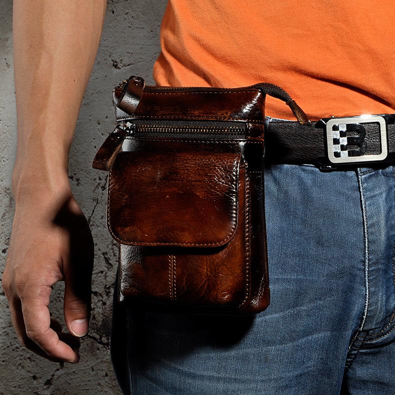 头层牛皮男竖款腰包复古手机户外多功能穿皮带真皮腰包单肩斜挎