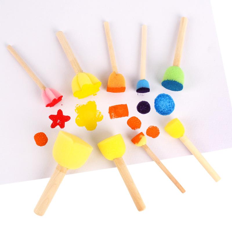 幼儿园美劳圆形海绵画刷 DIY印章颜料涂鸦工具 儿童绘画蘑菇笔刷