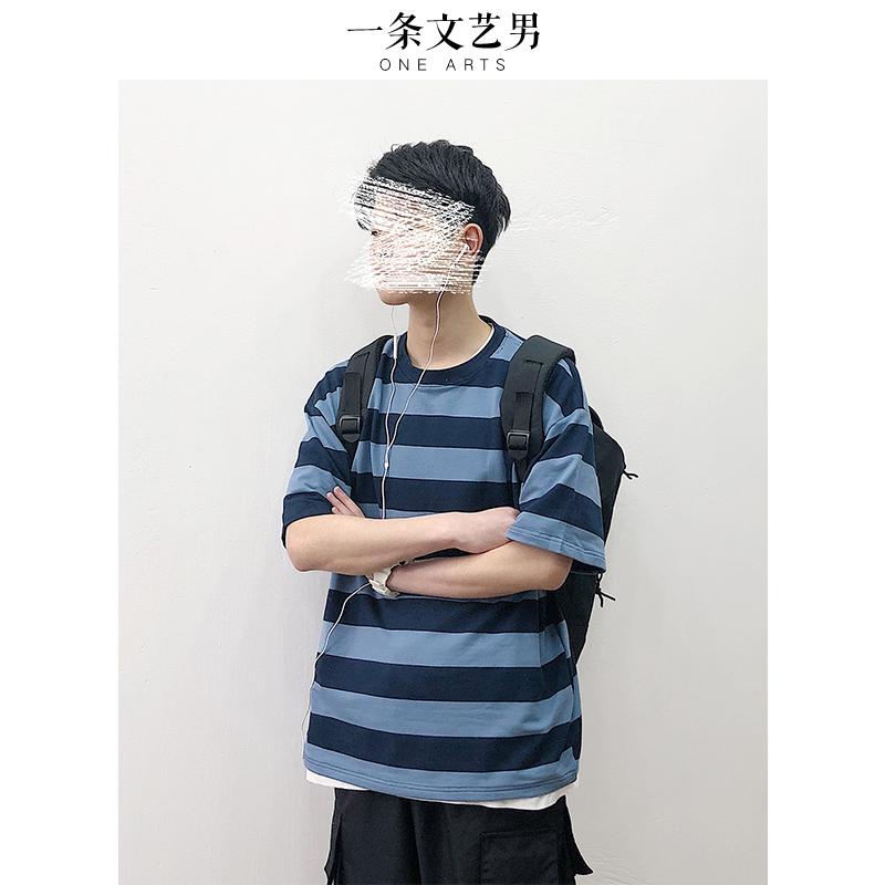 2019新款夏季条纹短袖T恤男韩版潮流宽松衣服港风潮牌打底衫上衣