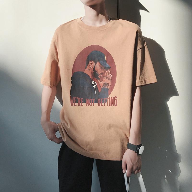 夏季男士短袖宽松大码嘻哈潮牌T恤韩版潮流情侣半袖青少年夏装男