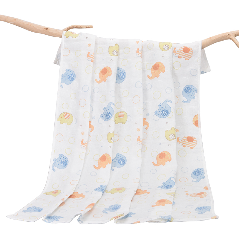人之初婴儿浴巾纯棉双层纱布新生儿加大小象童被盖毯儿童大毛巾被满29元可用10元优惠券