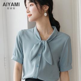 气质短袖领结雪纺衬衫女夏设计感小众温柔风蓝色上衣复古衬衫上衣