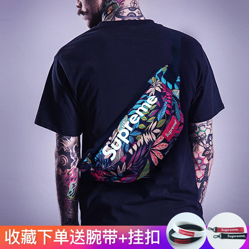 韩版男女腰包2020新款运动多功能帆布胸包学生单肩斜挎包迷彩死飞