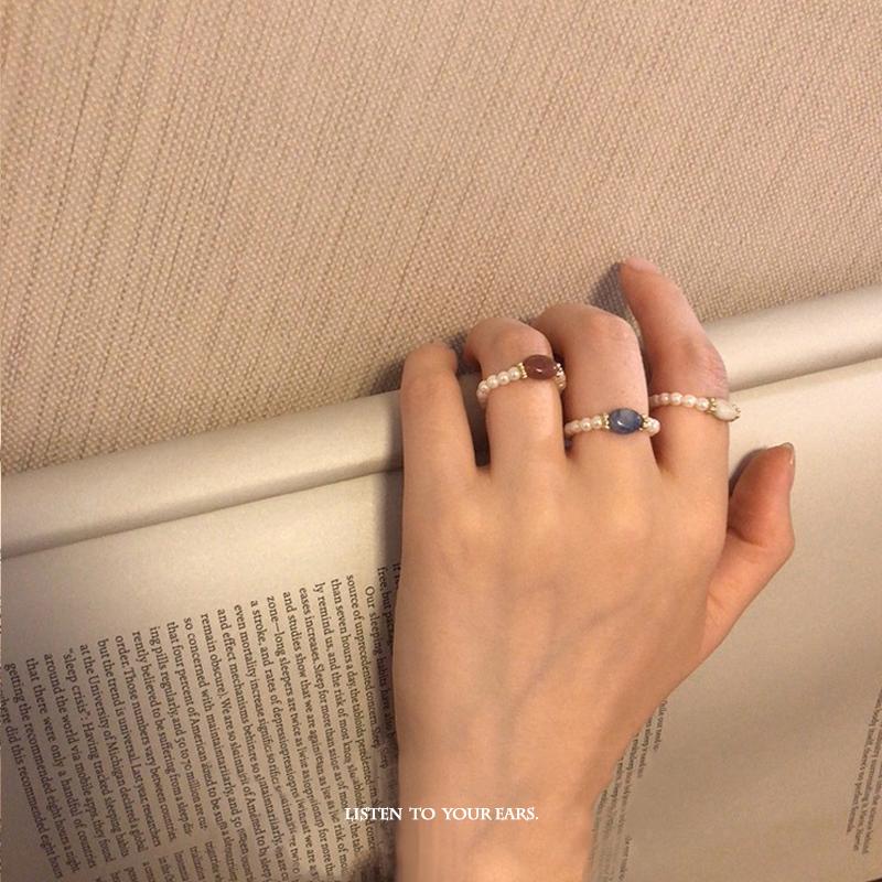 耳边风 冷淡风小珍珠复古玛瑙石ins潮 轻奢简约网红食指戒指女满23.90元可用1元优惠券