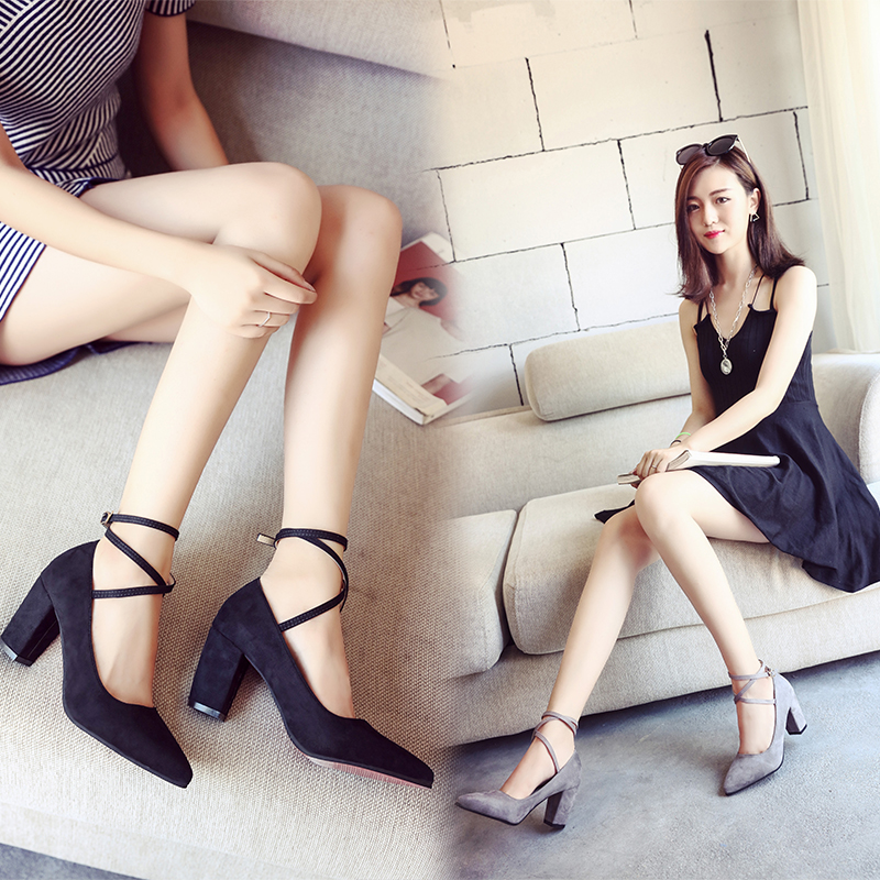 Ss17 new high heel thick heel shoes pointed toe wrist strap buckle suede sexy versatile shallow mouth womens single shoe trend