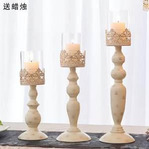 一对店铺蜡烛台摆件北欧浪漫会议室家居温暖花瓶手工喜庆旁边新春