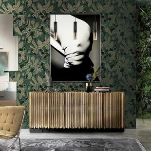 轻奢美式欧式高级绿设计师墙纸环保CL德国进口无纺纸基壁纸卡洛斯