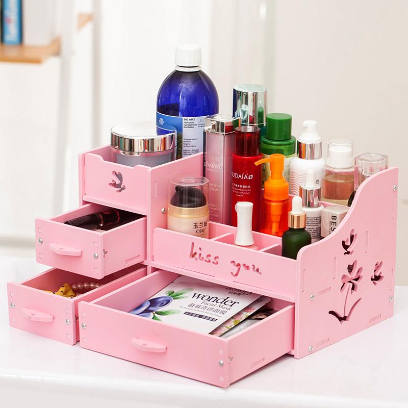 綠之戀韓國抽屜式化妝品收納盒大號桌麵收納盒梳妝台化妝盒置物架