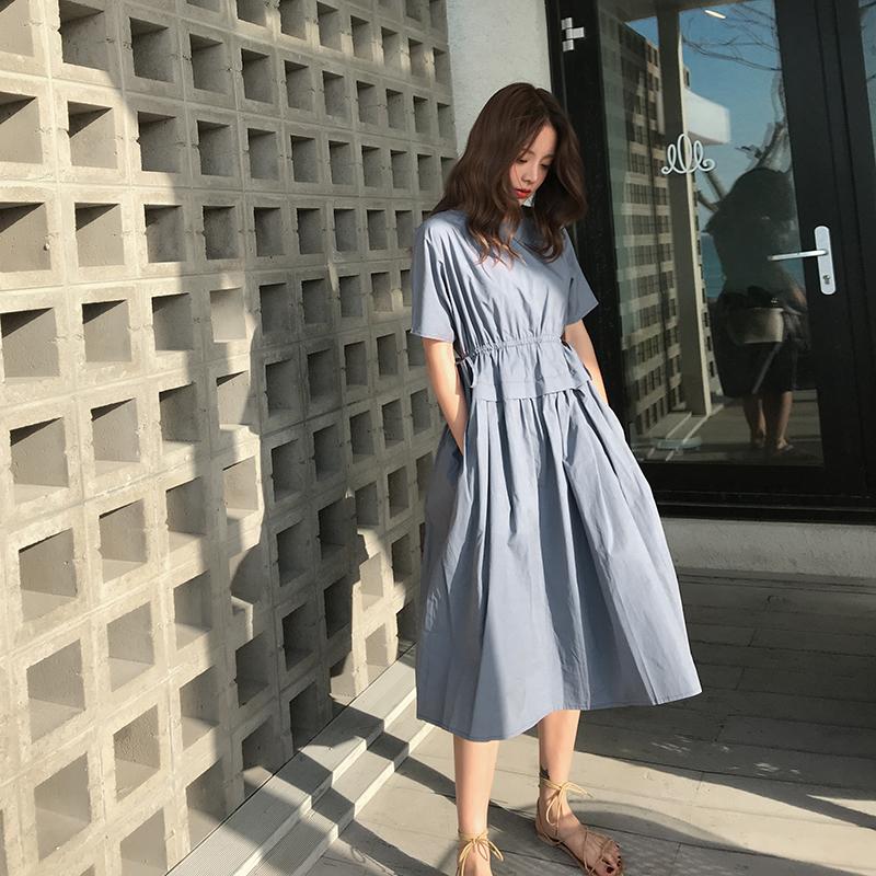2019夏季新款韩版宽松百褶连衣裙短裙女小个子学生显瘦蓬蓬娃娃裙