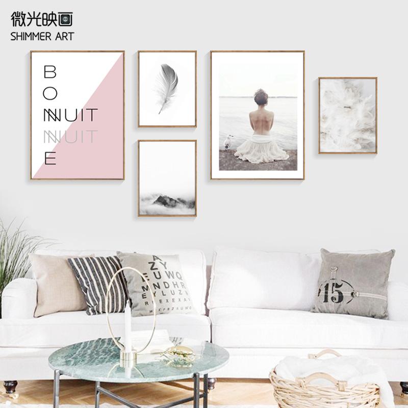 北欧客厅简约羽毛装饰画组合沙发背景墙照片墙餐厅卧室服装店壁画