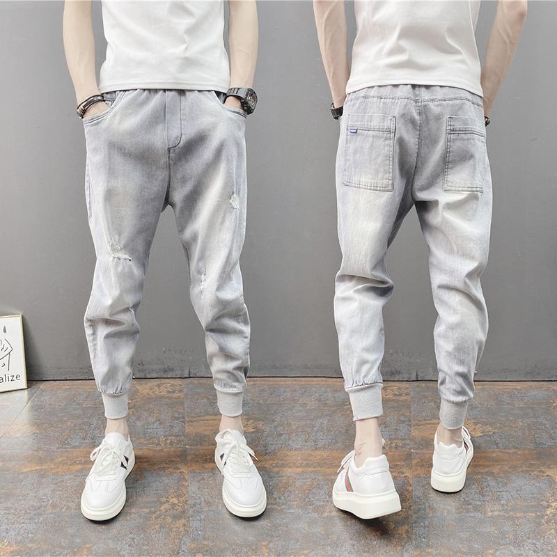 春夏新款男士薄款破洞小脚牛仔九分裤纯色修身休闲束脚弹力哈伦裤