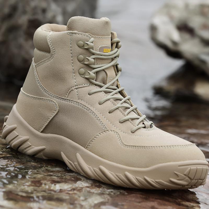 户外军靴沙漠靴特种兵战术靴作战靴秋冬季耐磨中帮男士军迷陆战靴