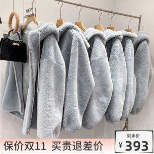 羊剪绒大衣女2021新款 中长连帽韩版 羊羔毛皮毛一体颗粒绒皮草外套