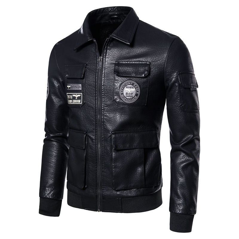 New leather coat men's Lapel flight suit motorcycle leather jacket youth large versatile handsome badge embroidered top