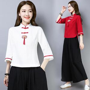 中国风女式唐装2019夏装新款民族风女装复古刺绣盘扣流苏棉麻上衣