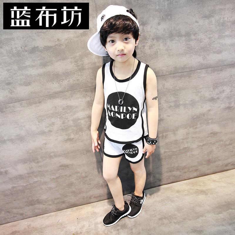 ~斷碼 ~男童套裝夏裝2016新品 兒童背心套裝寶寶 短褲