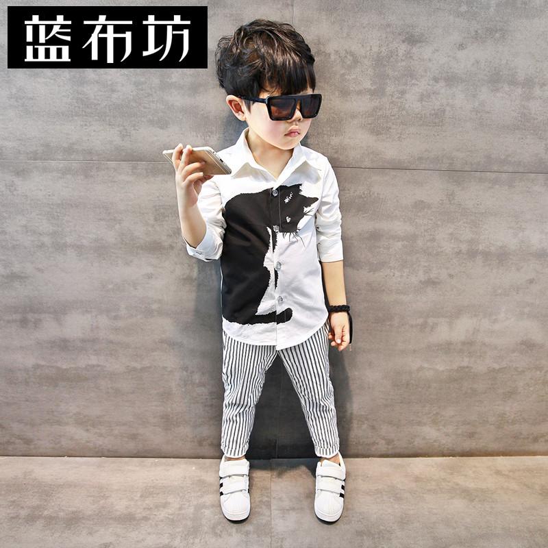 ~斷碼 ~男童襯衫2016秋款兒童 白色襯衣寶寶修身長袖上衣